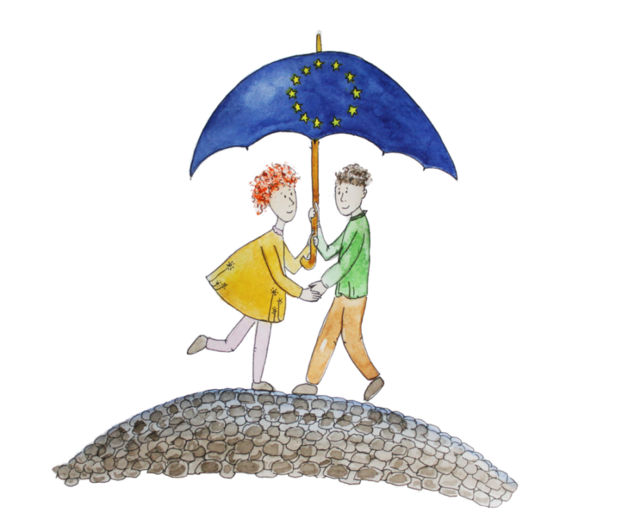 girl and boy under umbrella